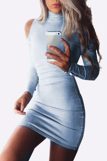 Cold Shoulder Highneck Bodycon Mini Dress in Blue