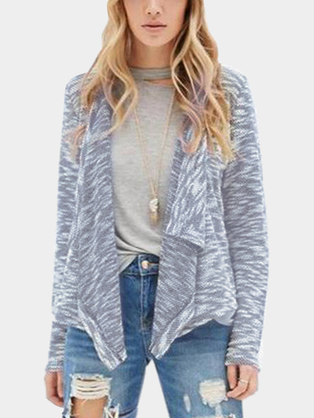 Open Front Lace Details Back Irregular Hem Coat in Grey