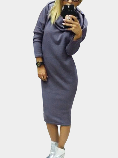 Grey Long Sleeves Hooded Midi Jumper Dress
