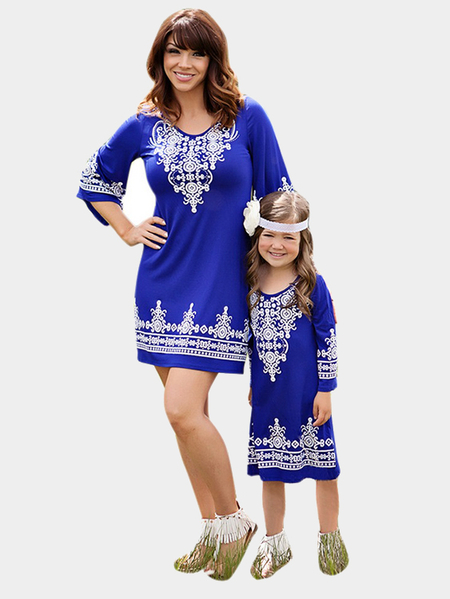 Blue Mom and Me Floral Print Matching Midi Dress - Me