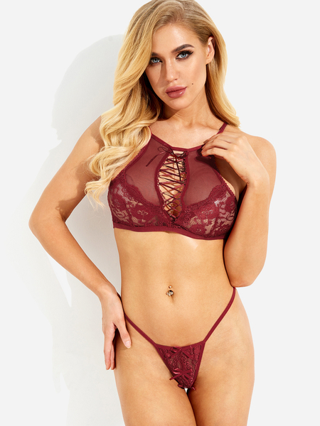 Burgundy Lace-up Design Bowknot Cut-out Lace Lingerie Set