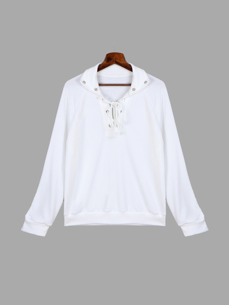 White Classic Neck Lace-up Front Sweatshirt