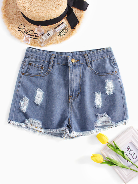 Random Ripped Details Mid Waist Denim Shorts