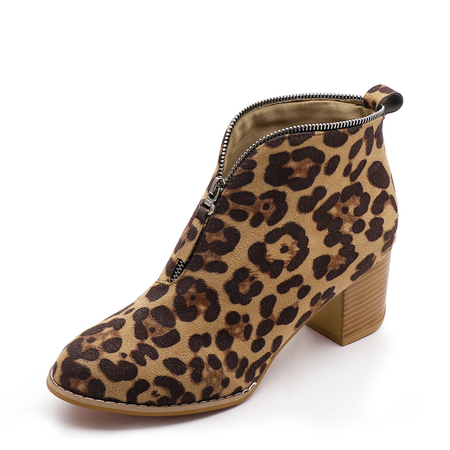 Leopard Pattern Zip Design Ankle Boots