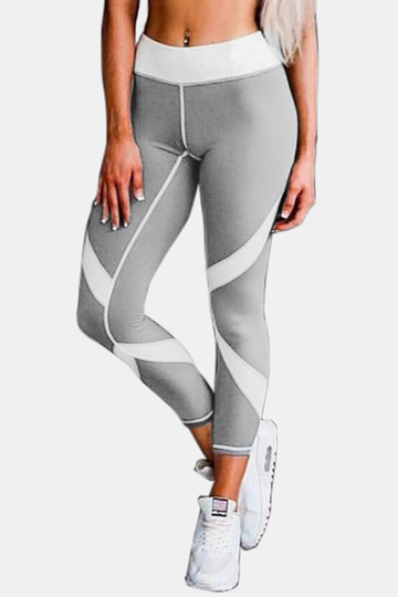 Active Net Yarn Stitching Quick Drying High Waisted Leggings in Grey