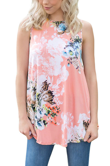 Pink Casual Round Neck Pleated Hem Floral Print Top