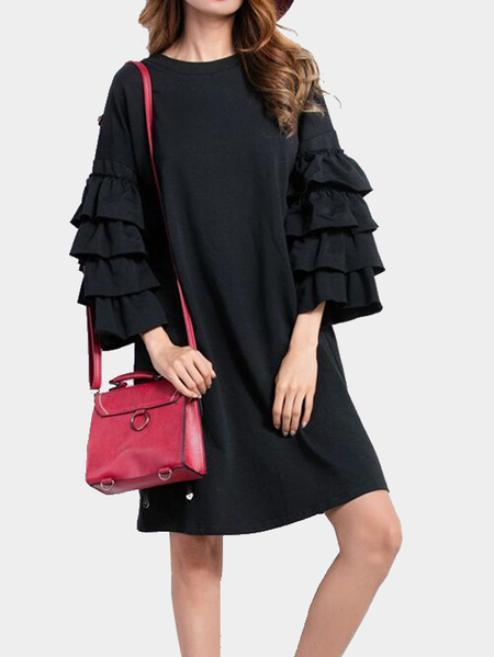 Fashion Black Mini T-shirt Dress With Layered Sleeves