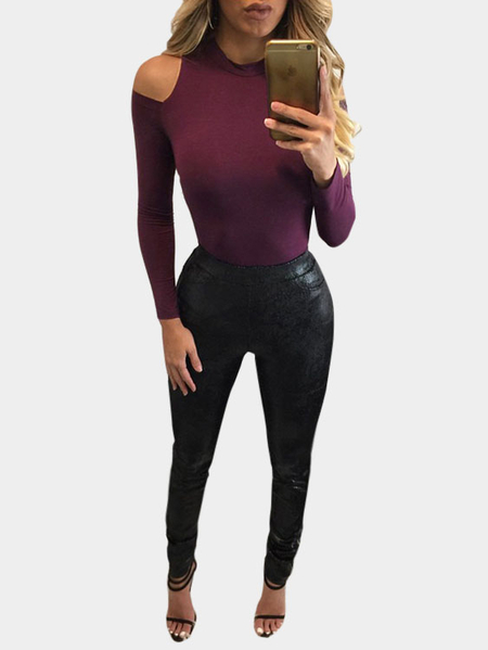 Purple Cold Shoulder Bodycon Thin Bodysuit
