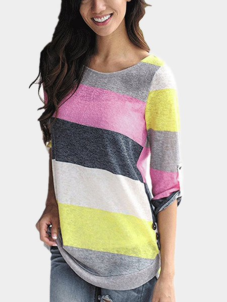 Yellow Random Stripe Round Neck Long Sleeves T-shirt