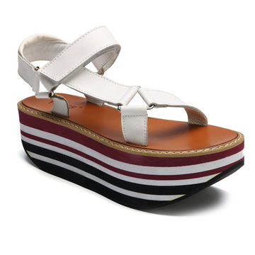 White Stripe Buckle Platfrom Sandals
