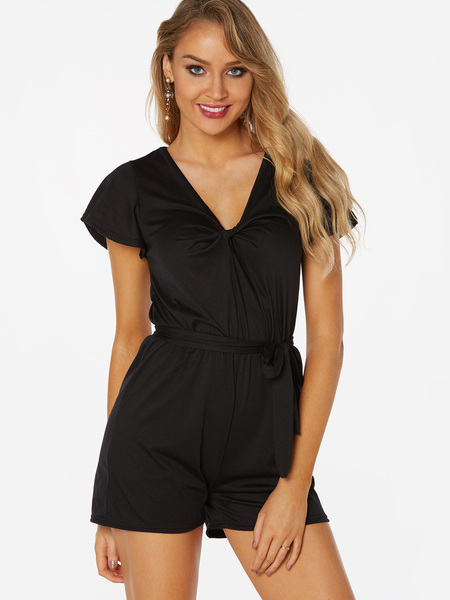 Black Pleated Design Plain V-neck Short Sleeves Middle-waisted Playsuits