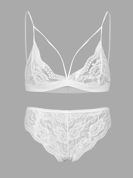 White Fashion Lace Hollow Out Sexy Lingerie Set