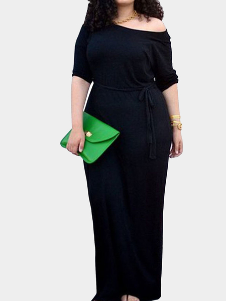 Plus Size 1/2 Length Sleeves Drawstring Waist Maxi Dress in Black