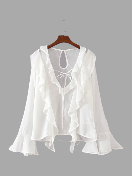 See-through Self-tie Keyhole Back Blouse