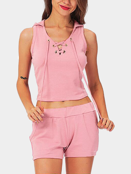 Pink Lace-up design Hooded Top and Stretch-waisted Shorts Sports Set