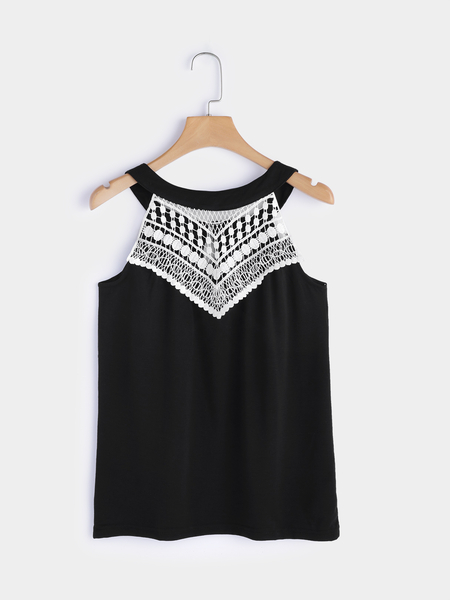 Black Lace Details Sleeveless Top