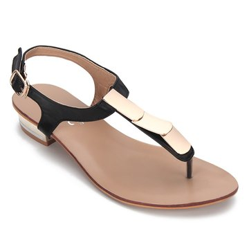 Black Gold-tone Hardware Toe Post Flat Sandals