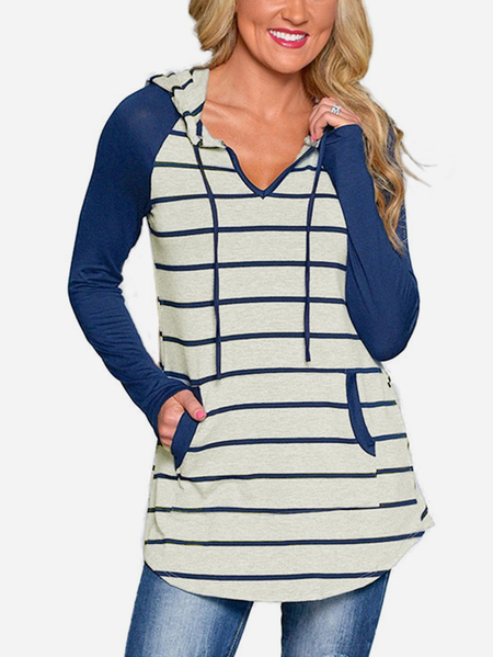Blue Stripe Pattern V-neck Long Sleeves Sweatshirt