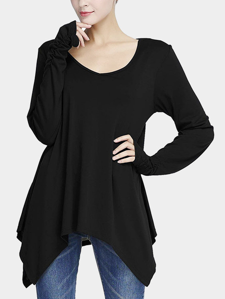 Black Irregular Hem Pleated Design Long Blouses