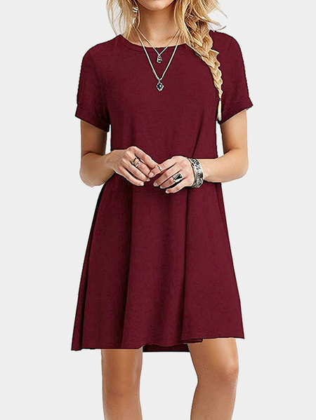 Burgundy Round neck Mini Dress