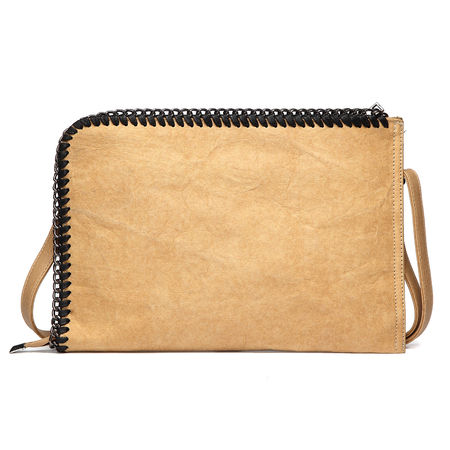 Brown Chain Embellished Kraftpaper Clutch Bag