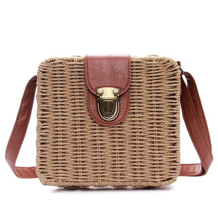 Palha tecida Crossbody no café com Push-Lock
