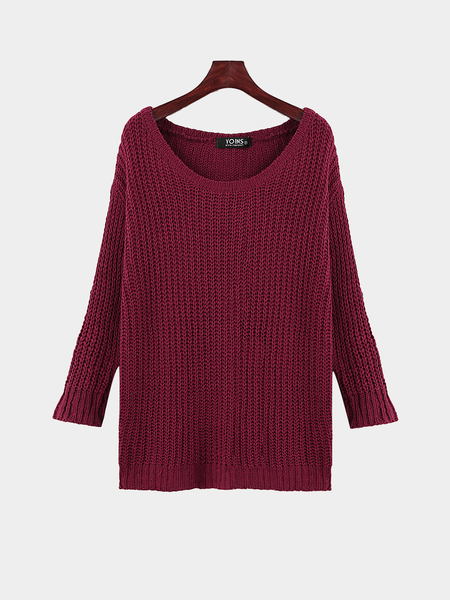 Burgundy Casual Round Neck Knitted Jumper