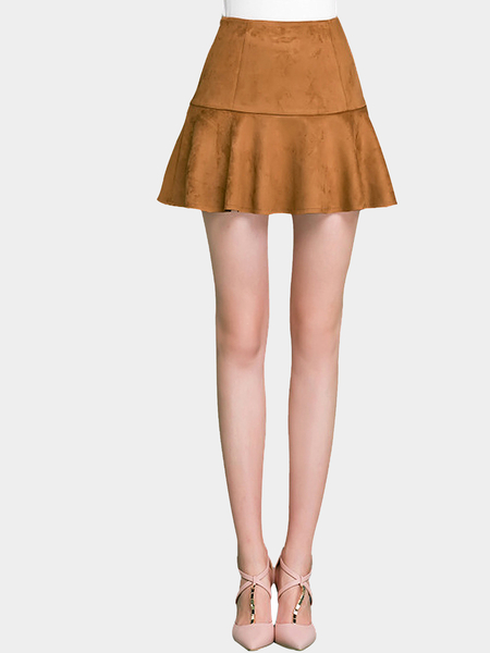 Coffee Artificial Suede Skater Mini Skirt