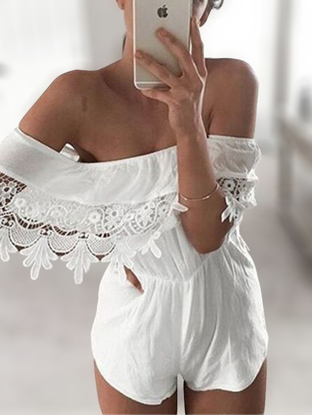 White Lace Details Off Shoulder Elastic Waist Sexy Jumpsuits