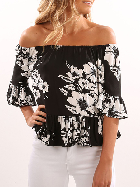 Black Off Shoulder Random Floral Pleated Details Top