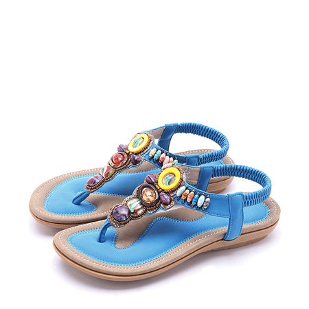 Boho style Jewelled Design Sandals in Blue