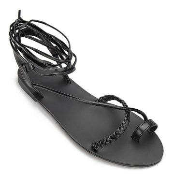 Black Leather Look Woven Detail Lace-up Cross Flat Sandals