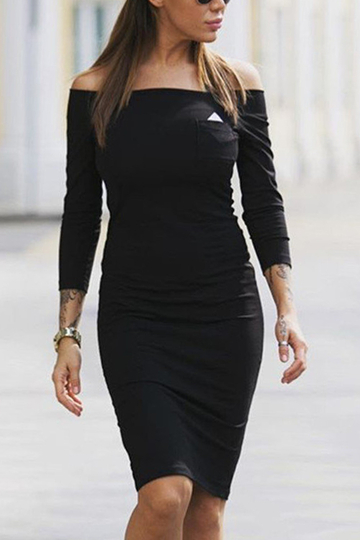 Black Off-shoulder Triangle Bodycon Dress