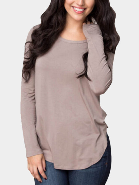 Khaki Round Neck Shirt with Curved Hem Design