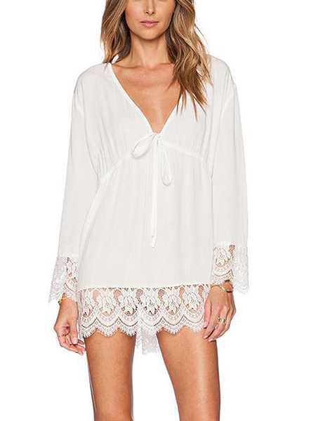White Plunge V Neck Mini Dress with Lace Details