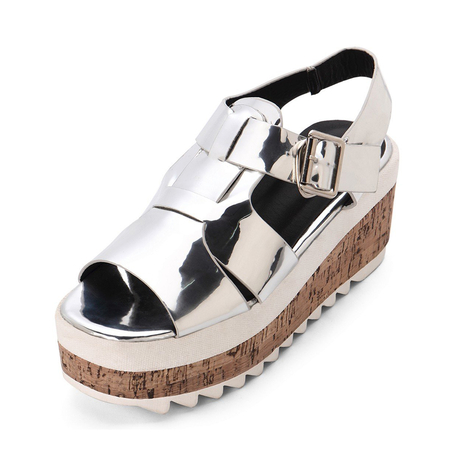Silver Metallic Ankle Strap High Platform Sandals
