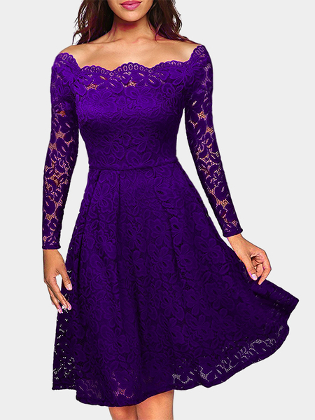 Purple Crochet Lace Embellished Bateau Long Sleeves Party Dress