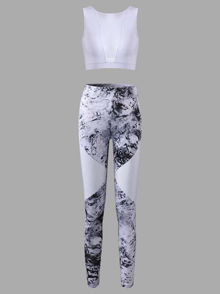 Active Net Yarn Stitching Design Elastic Tracksuit in White