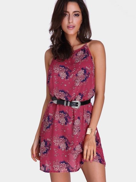 Red Fashion Random Floral Print Sleeveless Mini Dress