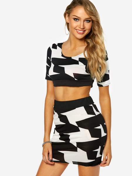 Black And White Backless Design Top & Bodycon Hem Skirt Sexy Co-ord
