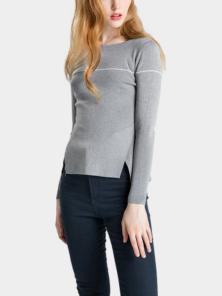Grey Scoop Collar Bodycon Fit Jumper with Crossed Split Hem