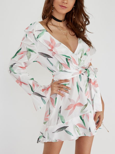 White Crossed Front Design Floral Print V-neck Wrap Dress