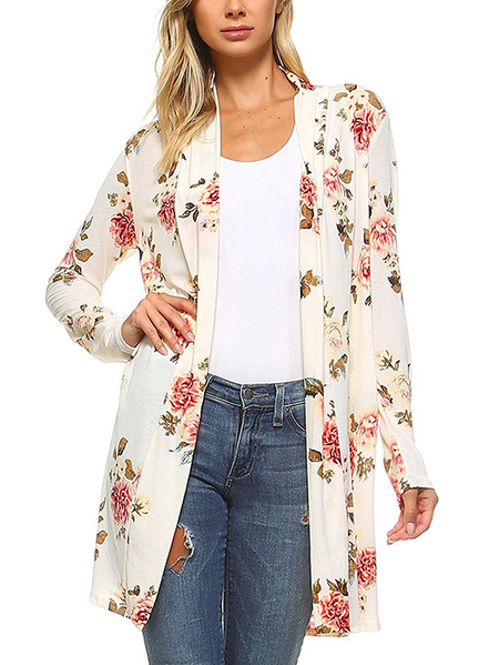 White Random Floral Print Long Sleeves Cardigan