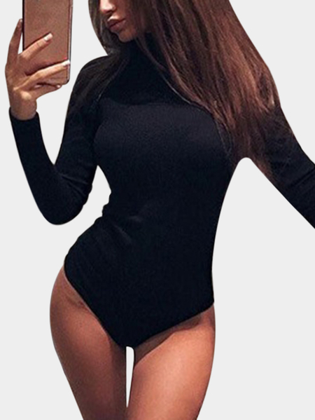 Black Zip Design Plain Perkins Collar Long Sleeves Bodysuit