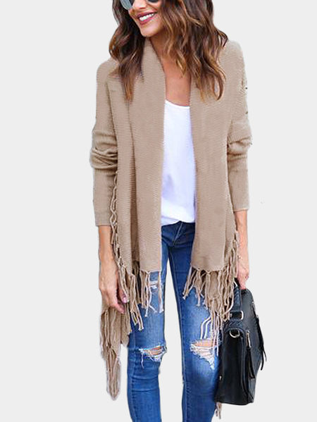 Khaki Tassel Details Long Sleeves Cardigan