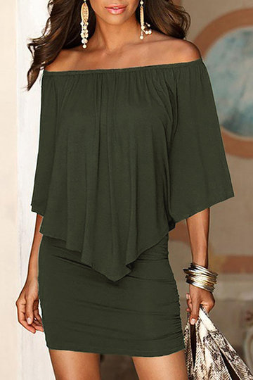 Army Green Off The Shoulder Ruffles Overlay Design Mini Dress