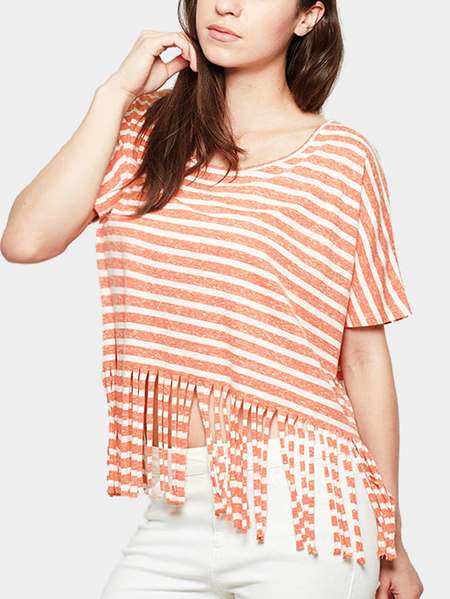 Décontracté Loose Orange Color Stripe Design Tassel Details T-shirt