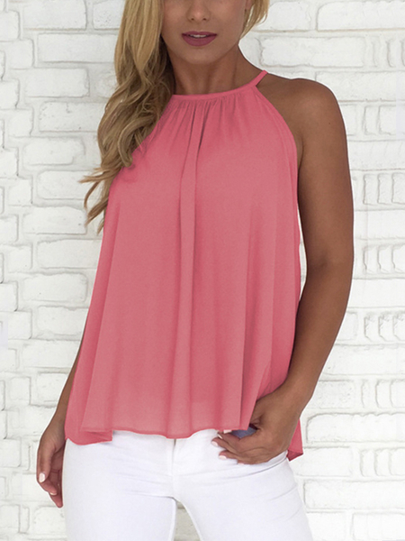Rose Button-gestaltete Halter Top