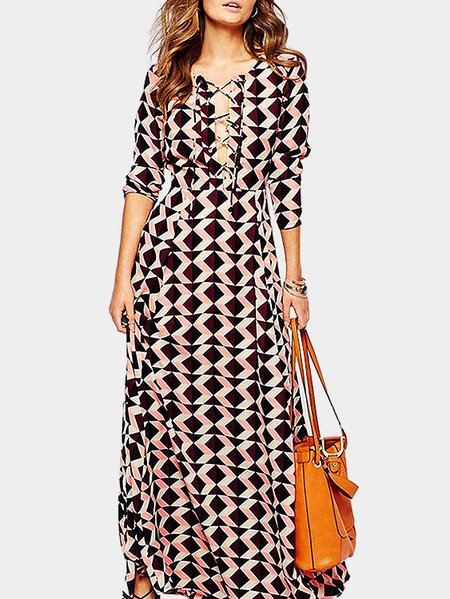 Geometrical Pattern Lace-up Front Long Sleeves Maxi Dress