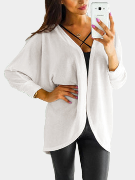 White Long Sleeves Irregular Hem Knitted Cardigan